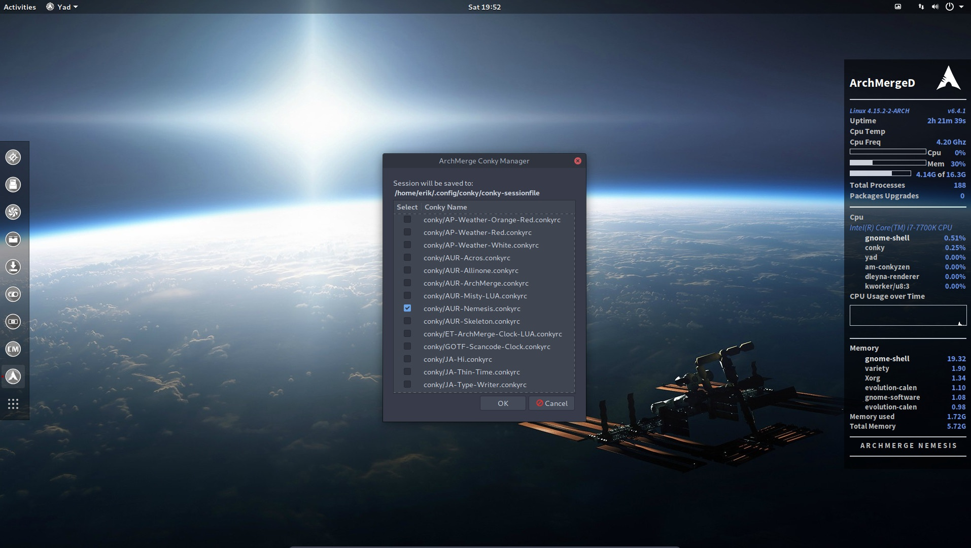 7 How to activate the conky's from ArcoLinuxD on Gnome
