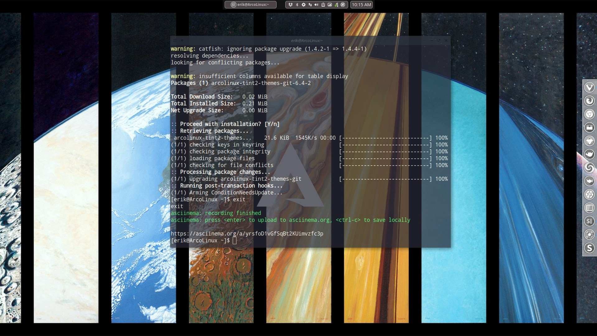 Use asciinema to show what goes on in your terminal